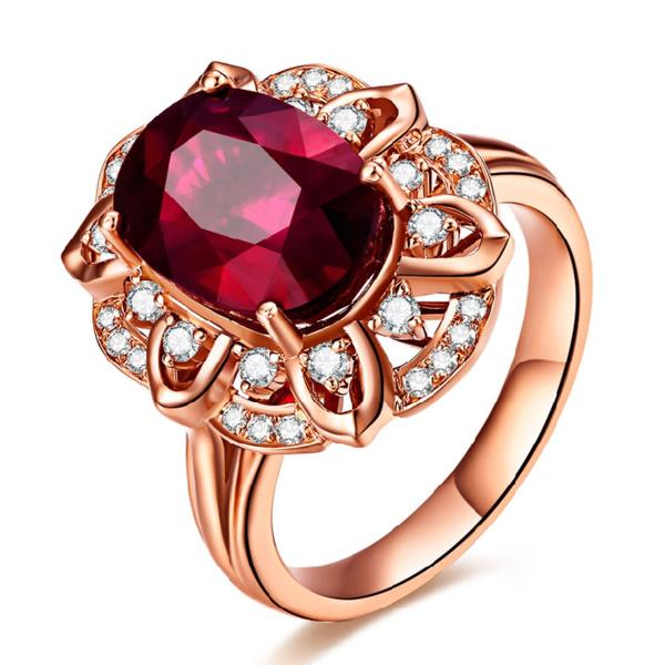 35% silver anti-allergic 18K rose gold plated Silver Oval red corundum royal synthetic Ruby silver ring for women