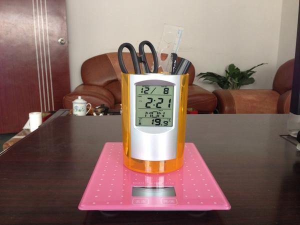 The latest listing of transparent calendar clock creative multi-function pen office supplies electronic calendar pen