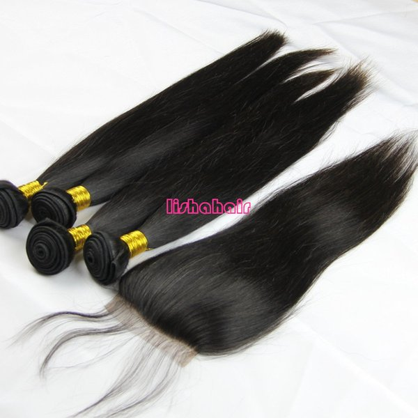 High quality grade 8A 100% unprocessed brazilian virgin silky straight human hair bundles 4pcs with free part lace top closure 5pcs lot