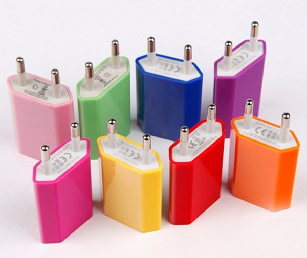 5V 1A Colorful EU US Plug USB Wall Charger AC Power Adapter Home Charger for iphone 6 6G 4 4S 5 5G 5S 5C Samsung Galaxy S3 S4 S5 epacket
