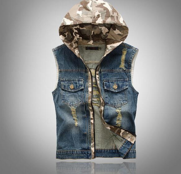 Gilet uomo in denim con cappuccio maschile Plus size Jeans casual Vest 2019 New Retro Sleeveless Denim Jacke