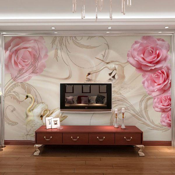 Free Shipping 3D Romantic Pink Roses Mural Wallpaper Background Wallpaper  Bedroom Living Room TV Sofa Mural