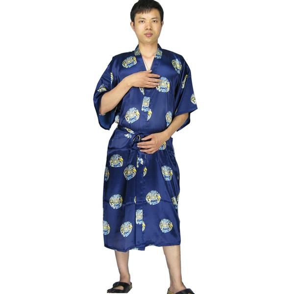 2018 Wholesale Long Satin Robe Men Bathrobe Kimono Hombre Dressing ...