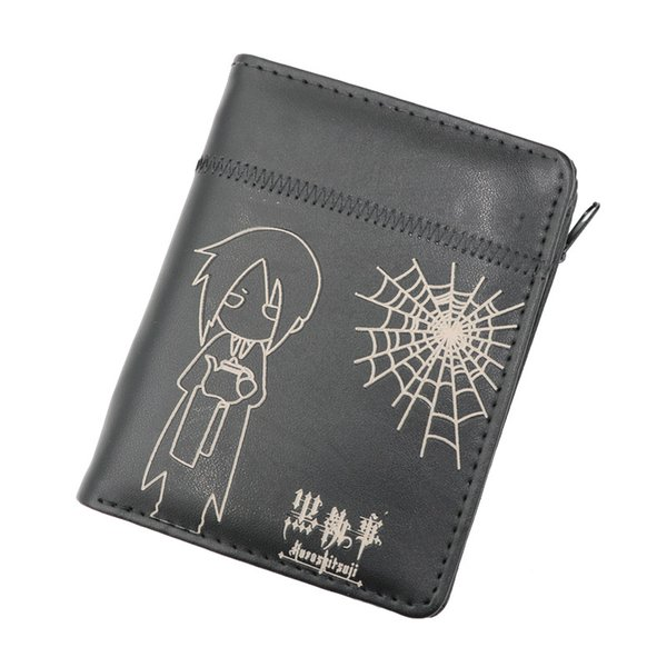 Anime Black Butler Sebastian Button+Zipper Purse More than 10 Types Creative Black Wallets to Choose for Collection or Cosplay