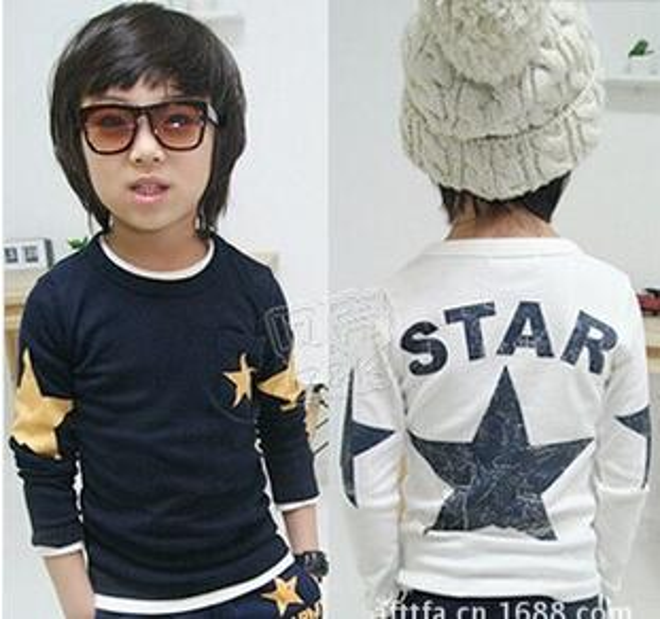 best selling Cotton Shirts Long Sleeve T Shirt Children T Shirts Child Shirt Fashion Round Neck Shirts Kids Clothing Boys Stars Printed Casual T Shirt