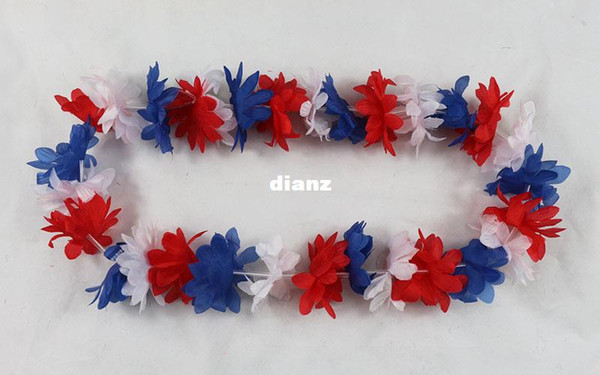 top popular Fashion Hot Party Supplies Silk Hawaiian Flower Lei Garland Hawaii Wreath Cheerleading Products Hawaii Necklace 2021