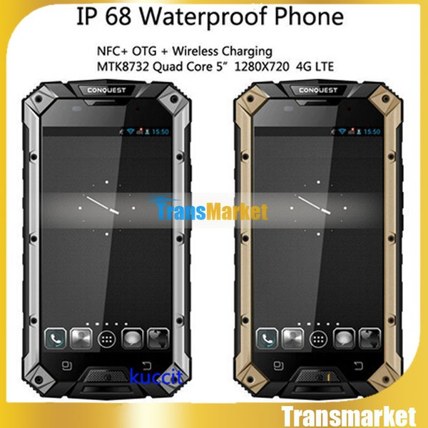 New Original 4G LTE Waterproof Mobile Phone Conquest S6 MTK8732 Quad Core 2G RAM 16G ROM 5.0 Inch Android 4.4 Dual SIM Phone