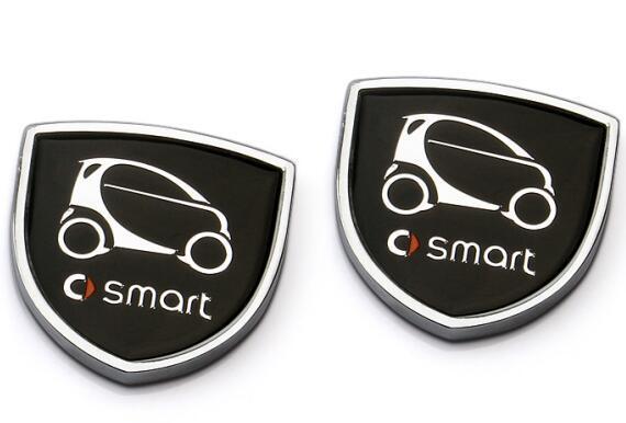 1pair 39x39mm Car Styling Smart Zinc Alloy Car Side Sticker Badge Emblem car sticker Mark High Qulity fit for Smart
