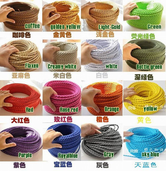 best selling Wholesale-10 meters lot Retro lamp cord color braided copper wire electrical cable wire ,accessories of vintage lamp diy light fittings
