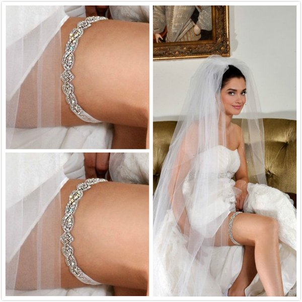 Free Shipping Lace Bridal Garters White Ivory 2015 Cheap Sexy with Crystal Beads Wedding Leg Garters Bridal Accessories Stunning Garters New
