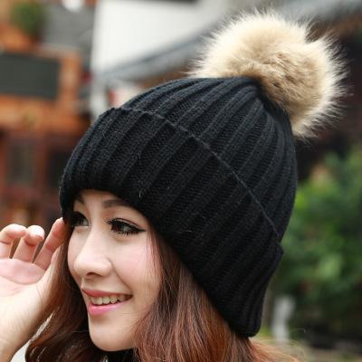 2017 New Hat Female Classic Knitted Faux Fur Pom Poms Women Cap Headdress Head Warmer Women's Winter Hats Skullies Beanies
