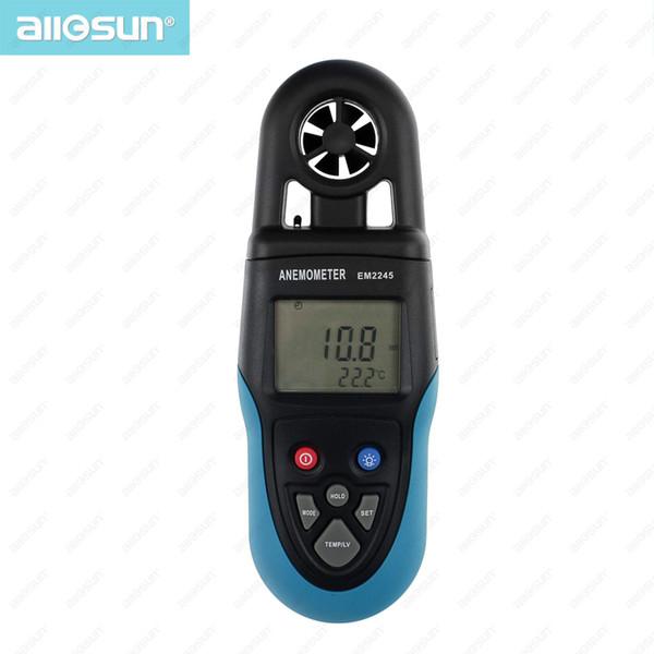 Digital Anemometer Handheld Wind Speed Tester LCD Air Temperature Velocity Meter Air Flow Meter All Sun EM2245