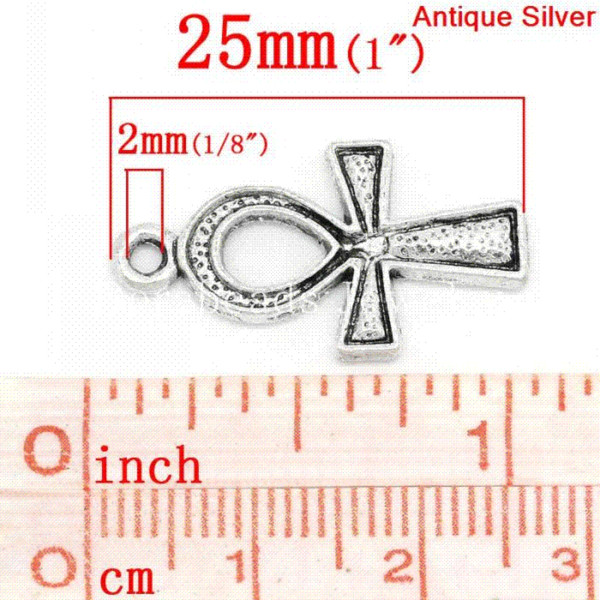 Pingentes charme Egito Ankh Prata antiga esculpida 25 mm x 14 mm (1