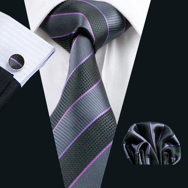 Classic Stripe Neck Tie Set Mens Silk Tie Hanky Cufflinks Jacquard Woven Formal Work Meeting Leisure N-0591