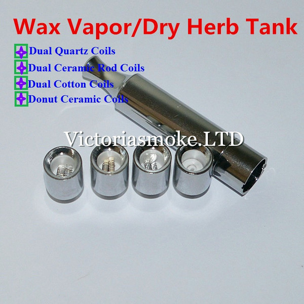 New Arrival T2 Metal atomizer wax Vaporizer with metal drip tip straight tube Dual Quartz Ceramic Rod Cotton Donut replacement Coils Ecigs