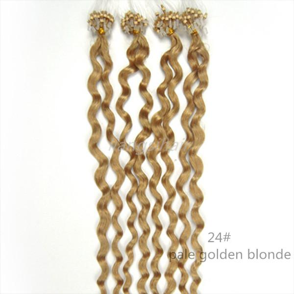 "Grade 7A 16""-26"" 100s 24# Pale Golden Blonde Deep Wave Loop Micro Ring Hair Extension Brazilian Remy Human Hair Bundles"