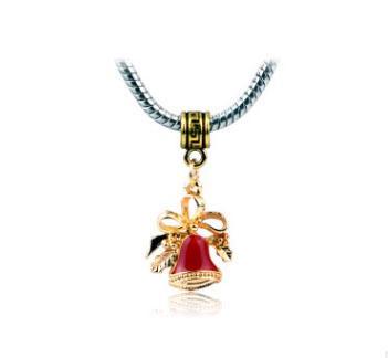 Envío gratis Silver Plated Bead Chrismas campana colgante del grano Fit Pandora pulseras brazaletes encantos encantos Collar colgante 188