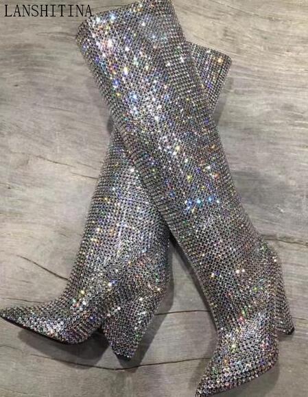 Großhandel 2017 Mode Desigh Diamant Boot Spitzschuh Booties High Heels Stiefel Glitter Strass Stiefel Stiefel Glanz Kniehohe Stiefel Party Schuhe