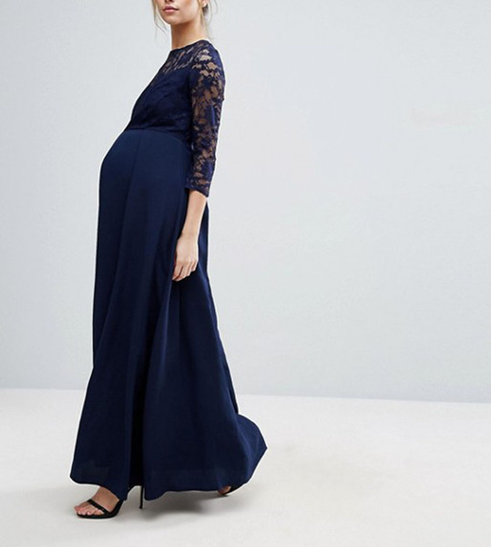 Elegant Jewel Neck 2019 Women Prom Dresses A-line 3/4 Sleeves Lace Maternity Evening Gowns Sassy Long Formal Bridesmaid Dresses For Pregnant