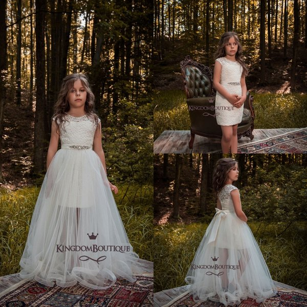 Ivory Cap Sleeves Jewel Neck Flower Girls Dresses 2018 Full Lace Mini Short Kids Formal Wear with Tulle Overskirt Girls Pageant Gowns