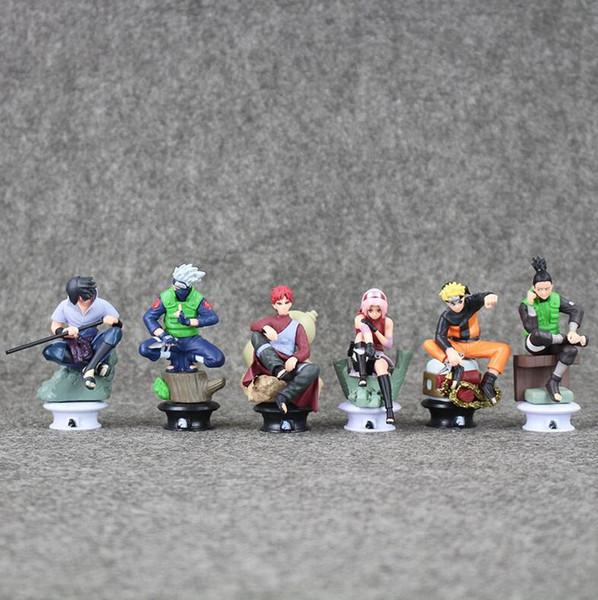 Dessin Animé Anime Naruto Figura 6pcs / set 9cm Uzumaki Naruto Sasuke Gaara Kakashi Jeu d'échecs Action Figure Collection jouets amp Loisirs