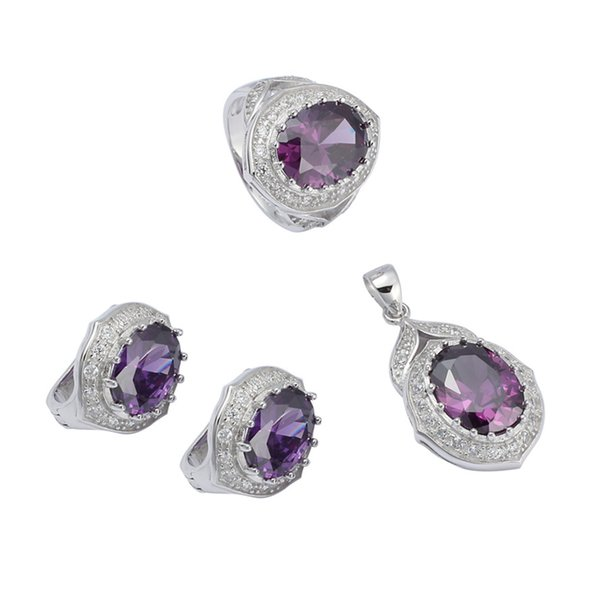 925 sterling silver Promotion heart set (ring/earring/pendant) Noble Generous S-3752sets Rock Amethyst Cubic Zirconia CUte The new product