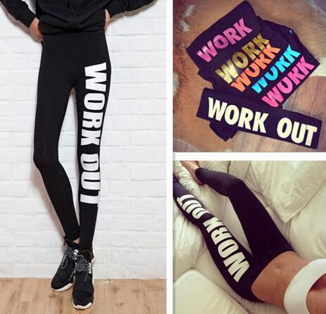 best selling New Arrive Woman Clothing WORK OUT Letters Leggings Slim Sexy Sportswear Gym Sports Fitness Leggings Winter Pants