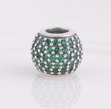 DARK GREEN PAVÉ BALL CHARM DIY Beads Real Solid 925 Sterling Silver Not Plated Fits Original Pandora Bracelets & Bangles & Necklaces