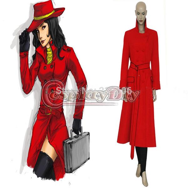 Custom Made Carmen Sandiego Costume Dress Uniform Suit Adult Women Halloween Cosplay Costume Unique Group Halloween Costumes 5 Person Halloween
