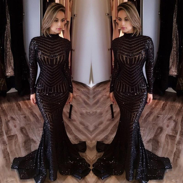 Hot Sale Cheap High Neck Long Evening Dresses Long Sleeves Floor Length Memraid Prom Party Dresses Formal Evening Gowns Custom Made