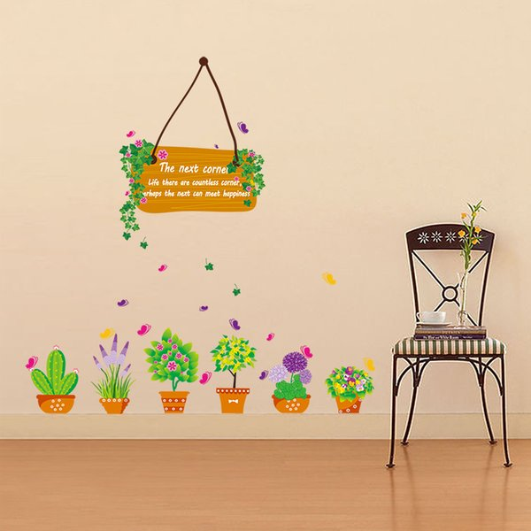 Fashion Flower Bag Planter Pot Wall Art Mural Decor Sticker Living Room Wall Decal Graphic Potting Flowers Wall Applique Poster