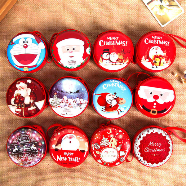 Hot 15 colors Cartoon Christmas storage box coin purse Santa Claus Christmas Creative gifts for children Christmas decorations IB498