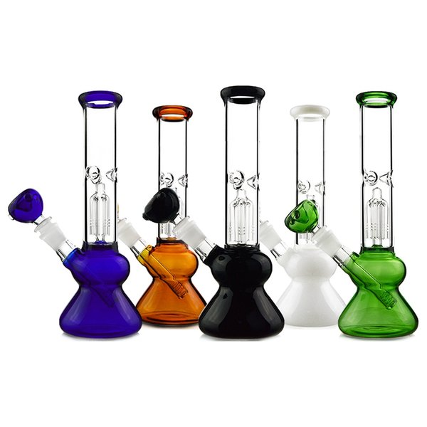 2018 Heady Glass Bong 4 Arms Tree Perc Oil Dab Rigs Straight Tube Double Chamber Water Pipes 18mm Joint With Diffused Downstem Bowl