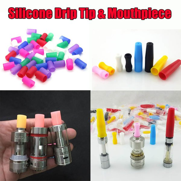 best selling Disposable Silicone Mouthpiece Drip Tips For E Cigs Assorted Acrylic Rainbow Cartridges 510 Cover Caps Tip For Atlantis Subtank Mini Nano