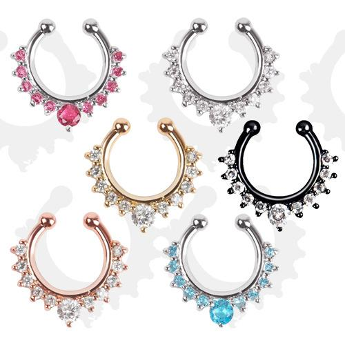 19 Colors Different Styles Rhinestones Fake Nose Ring Fake Septum Factory Directly Sales Body Piercing Jewelry Wholesale