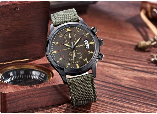Army green genuine leather band men Military watches brand calendar Chronograph mens Sports Wrist Watch Waterproof