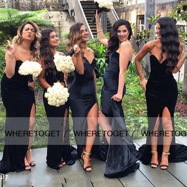 Preto Longo Da Dama de Honra Vestidos 2019 Sereia Querida Backless Simples Barato Sexy Alta Fenda Longo Formal Vestidos Dama De Honra Para O Casamento