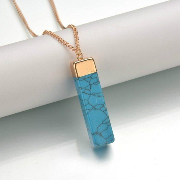 Quartz Stone Pendant Necklace Women Rectangle Natural Stone Pendants Natural Crystal Necklaces Fashion Jewelry 5 Colors