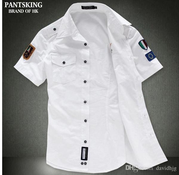 NEW Fashion airforce uniform military short sleeve shirts men's dress shirt free shipping Bcy60