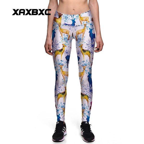 2017 New 0126 Fashion Snow Christmas elk Deer Rudolph Prints Sexy Girl Pencil Yoga Pants GYM Fitness Workout High Waist Women Leggings