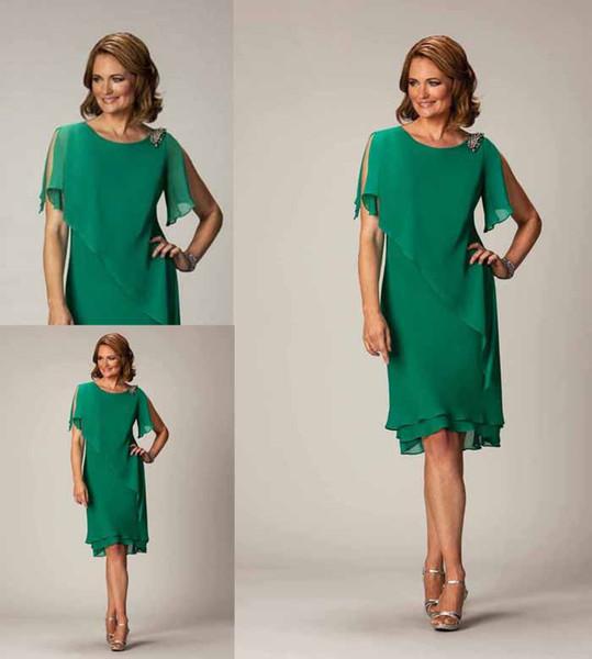 2015 Summer Beach Mother of the Bride Dress Knee-Length Green Chiffon mother's dress A-Line Jewel Pleated Formal Evening Gowns Cheap