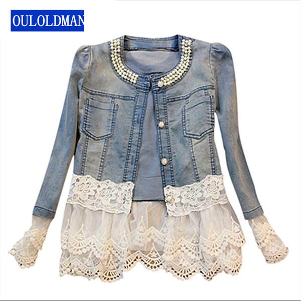 Wholesale- Women Denim Jackets Lace Spliced Jeans Jacket Coat Pearl Beads Casual Winter Oversize Pocket Outwear Windbreaker Jaqueta casaco