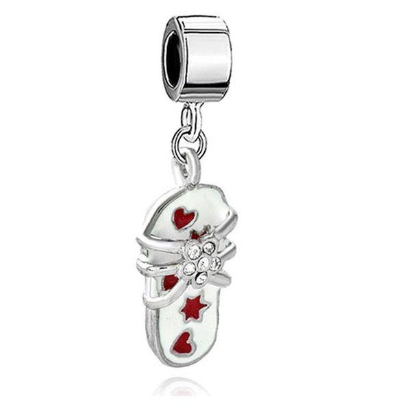 enamel Rhodium Plating heart and star crystal slipper Dangle charm European fit Pandora Chamilia Biagi charm bracelet