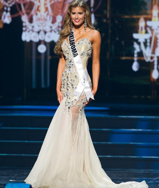 Bling Pageant Dresses for Women Beauty Miss USA Sweetheart with Straps Crystal Rhinestone Sexy Backless White Prom Gowns Evening Wears