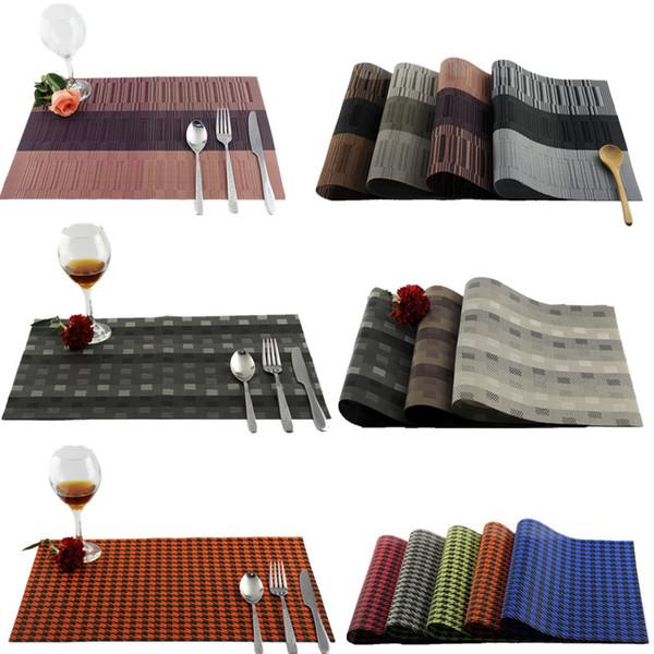 Großhandel-4Pcs / Lot Esstisch PVC Tischsets Swallow Grid Bambus wasserdichte Pads Tischset