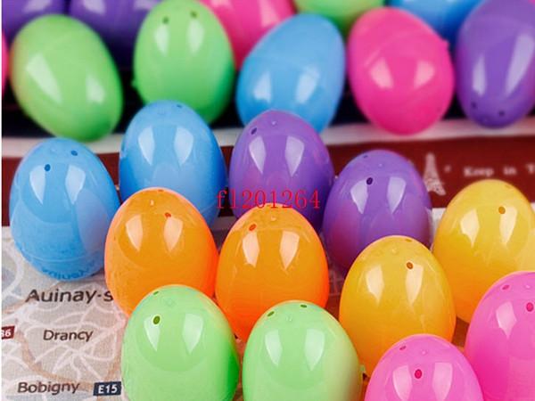 Freies Verschiffen-Plastikostereier 4x6cm für Hochzeitspartydekoration Plastikspielzeug-Kapsel-feste bunte Eier spielt 100pcs / lot