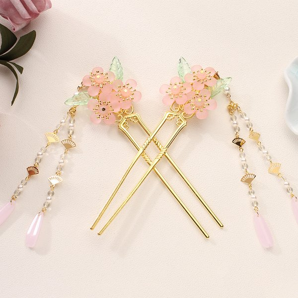 Handmade Ancient Chinese Style Flower Simulated Pearls Long Tassel Hair Sticks Hairpins Headpieces Bride Hair Jewelry