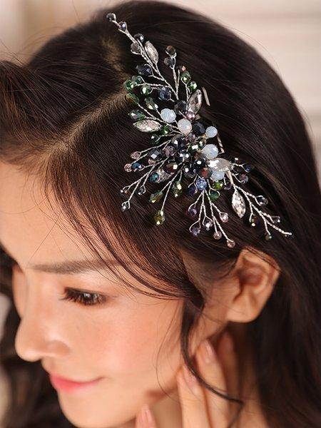 Bohe Silver Crystal Rhinestone Bridal hair comb Women hair jewelry Fashion Hair pin Wedding Accessories Bride