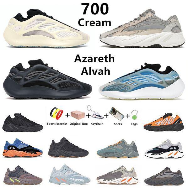 Cream kanye 700 mens running shoes V3 MNVN Azareth Azael Alvah Static Vanta Utility Black bone Phosphor Tephra Salt west men women trainers sports sneakers with box