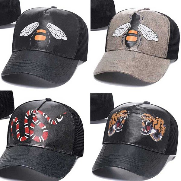 top popular 2021 Designer Mens Baseball Caps woman Brand Tiger Head Hats bee snake Embroidered bone Men Women casquette Sun Hat gorras Sports mesh trucker Cap 2021